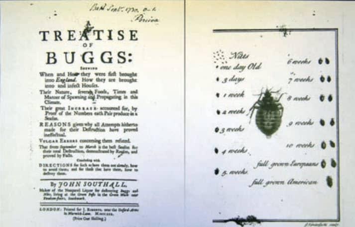Fig. 1. Título y página opuesta del tratado de Southall de 1730 sobre la chinche de cama. El libro se vendía por un chelín, mientras que una botella del secreto «Nonpareil Liquor» para matar chinches de cama costaba dos.