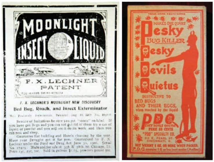 Fig. 2. Se han comercializado muchas fórmulas «secretas» contra chinches de cama a lo largo de los años, incluidas estas dos de principios del siglo XX. En la actualidad es recurrente una tendencia similar en la comercialización de productos para chinches de cama.