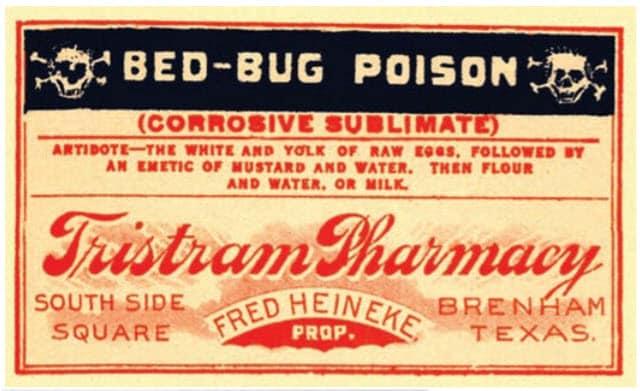 Fig. 8. Los primeros insecticidas para chinches de cama a menudo eran peligrosos: (izquierda) El cloruro de mercurio, mejor conocido como «Veneno de chinche de cama», era uno de los más tóxicos; (Derecha) A veces se usaba una pluma para aplicar este y otros líquidos en grietas y hoyos (reimpreso de Clemson Agric. Bull. 101, 1941).