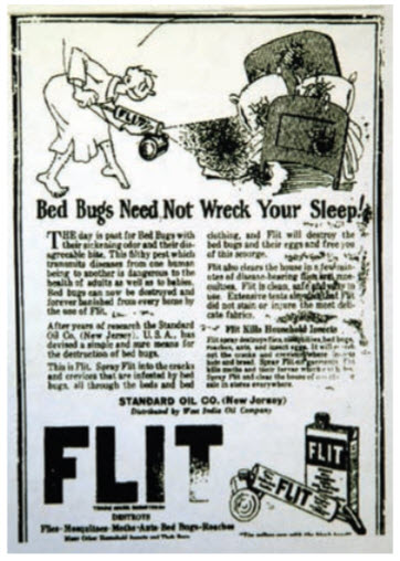 Fig. 9. Los avisos contra chinches de cama a menudo eran divertidos. El dibujante de este anuncio de 1928 fue Theodore Geisel (Dr. Seuss).