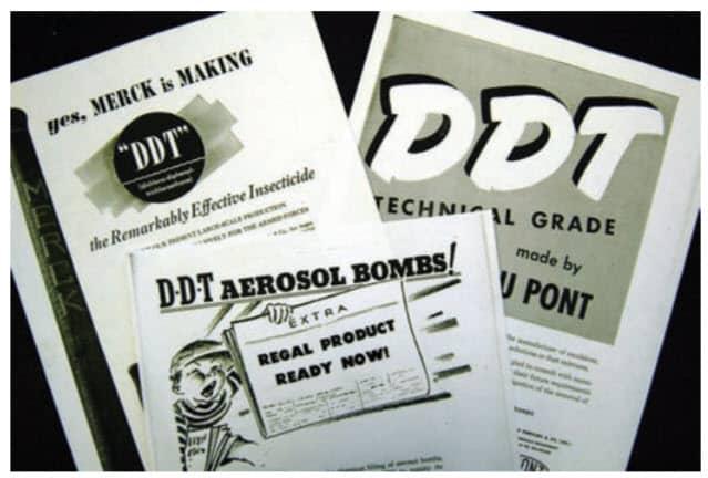 Fig. 12. En 1945, los proveedores comenzaron a publicitar la disponibilidad de DDT para usos civiles (no militares), incluido el control de chinches de cama.