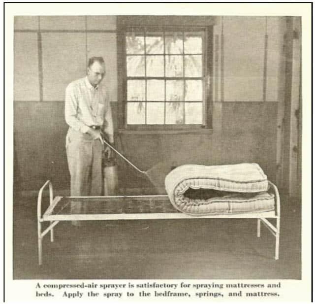 Fig. 13. Al controlar las chinches con DDT, se recomendó el tratamiento de toda la cama, incluidas las superficies superiores e inferiores del colchón (reimpreso en USDA 1953).