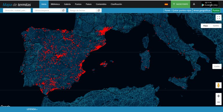 Vista general del Mapa de termitas de España