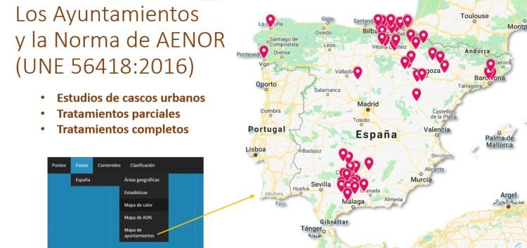 Imagen 14-Ayuntamientos de España que han aplicado en cierta medida la Norma de AENOR UNE 56418-2016