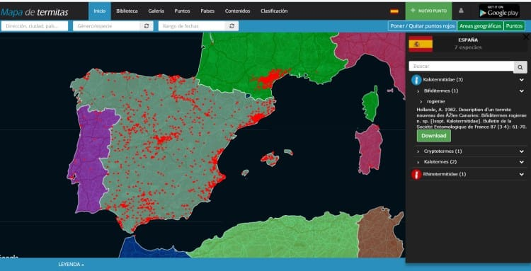 Imagen 5-Vista por áreas geográficas, acceso al detalle de todas las especies descritas en cada país.