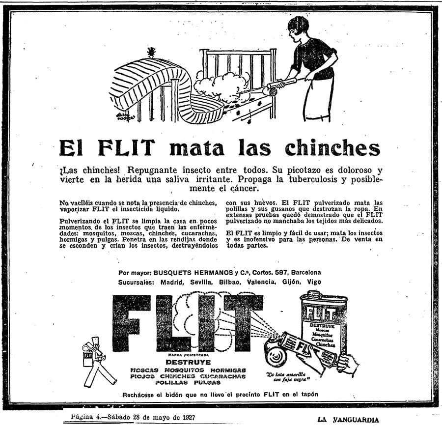 Combatiendo en los años en 1927 las chinches de cama en España