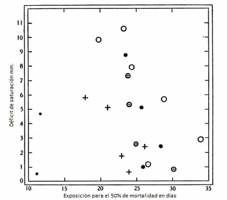 Fig. 12. Exposición para el 50% de mortalidad de huevos de C. lectularius en diversos déficit de saturación y a temperatura constantes. • 10 a 11 ° C; + 4-0-4-3 ° C; © 6-7-7-8 ° C; • 9-1-9-8 ° C, O 11-7 121 ° C. Datos de la Tabla 15.