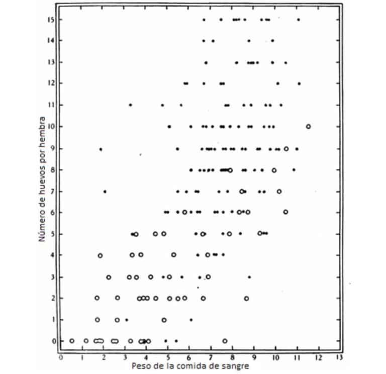 Figura 13. El efecto del peso de la comida de sangre en la producción de huevos a 23 ° C a partir de una sola comida por parte de las chinches. Los datos en las Tablas 19-23. •, comidas completas, O Comidas parciales.