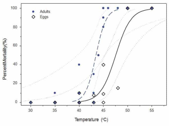 Figura 1. La mortalidad de adultos (z) y huevos (') de chinches de la cama cuando se exponen a diferentes temperaturas finales después de una rampa de temperatura de 0,06 °C / min. La regresión logística para adultos (y = 0,943 Log10 (x) -40,96; —) y los huevos (y = 0,636 Log10 (x) -30,21; ─ ─) se muestran con sus respectivas CLsdel 95% (xxxxy xxxx).