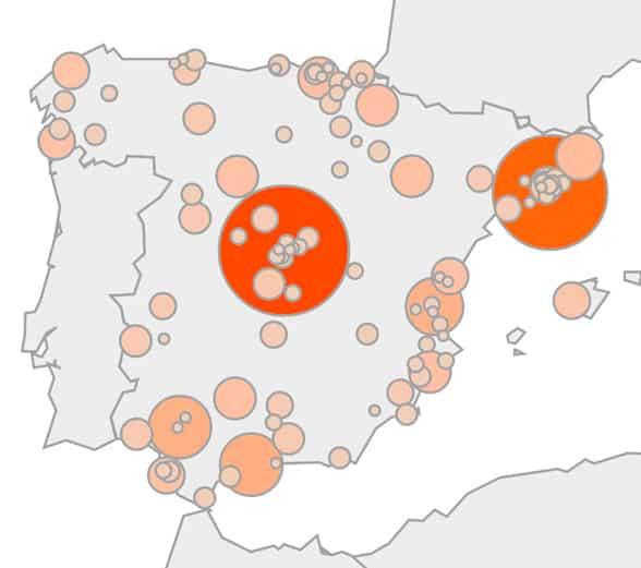 Mapa de riesgo por termitas según Google